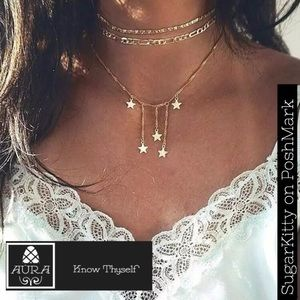 Gold Star Dainty Delicate Multilayer Necklace